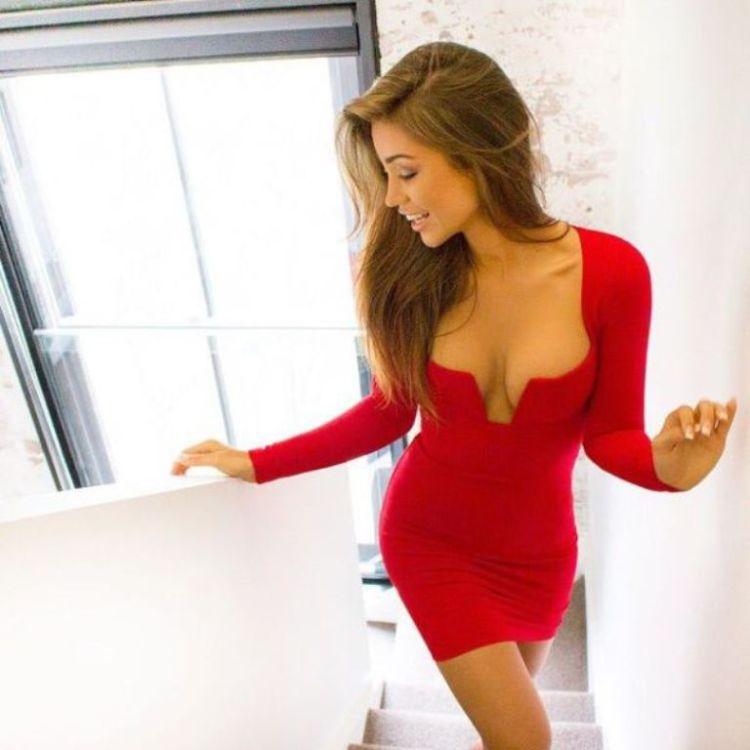 красное платье