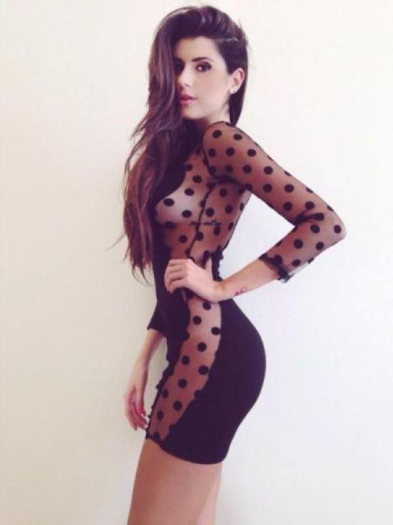 прозрачное платье в горошек